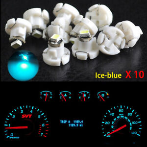 10x T4 2 Neo Wedge 1 smd Led Cluster Instrument Dash Climate Light Bulb Ice Blue
