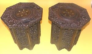 A Pair Of Antique Eastern Gothic Octagonal Carved Folding Tables Decorative