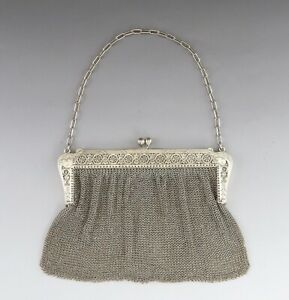 Antique C1900 French Sterling Silver Mesh Engraved Openwork Purse