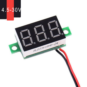 2 Wire Dc 4 5 30v Digital Red Led Car Voltmeter Voltage Volt Panel Meter Gauge