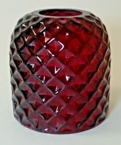 Antique Victorian Ruby Red Miniature Art Glass Fairy Lamp Globe Shade