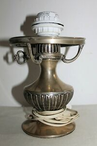 Antique Sterling Solid Silver Spanish Oil Lamp Electrified Chandelier C 1950