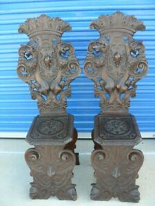 Set Of 2 Antique Italian Renaissance Carved Wooden Sgabello Chairs Rampant Lions