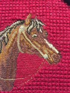 Victorian Needlework Sampler Needlepoint Horse W Bridle Framed