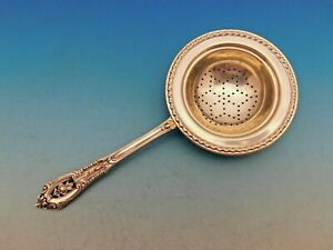 Rose Point By Wallace Sterling Silver Tea Strainer Rare W Gadroon Edge Pierced