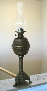 Antique Japanese Elaborate Large Asahi Oil Lamp Angels Claw Feet Religious