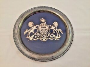 Antique Vtg Wm Rogers Silverplate Souvenir Pennsylvania Motto Round Tray Platter