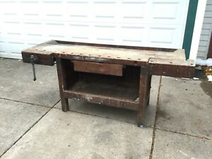 Antique Workbench Work Bench Carpenter Craftsman Ohio Tool Company Columbus Ohio