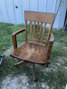 Lawyers Bankers Library Oak Desk Arm Chair Antique Vintage