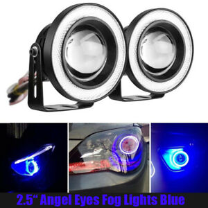 Blue 2 5 Inch Cob Led Fog Light Projector Car Angel Eyes Halo Ring Drl Lamp