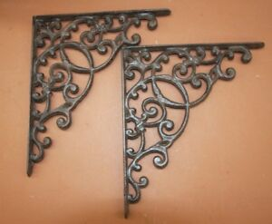 2 Large Cast Iron Corbels Vintage Look Victorian 13 Inches B 2