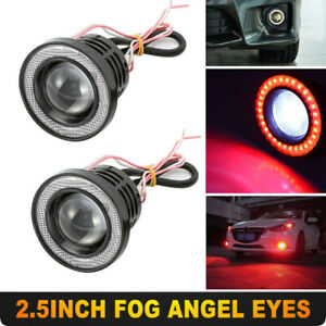 Red 2 5 Inch Cob Led Fog Light Projector Car Angel Eyes Halo Ring Drl Lamp