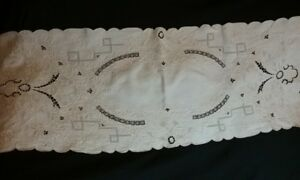 Antique Appenzell Floral Lace Linen Table Runner Off White 40 X 16