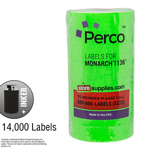 Fluorescent Green Pricing Labels For Monarch 1136 Price Gun 8 Rolls 14 000