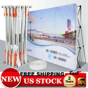 8ft Pop Up Stand Trade Show Display Backdrop Wall Frame Booth Aluminum Alloy Us