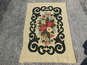 Vintage Primative Hand Hooked Rectangle Floral Rug Flower Bouquet Of Color