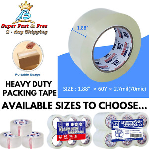 Clear Packing Tape Thick Heavy Duty Sealer Carton Industrial Commercial Moving