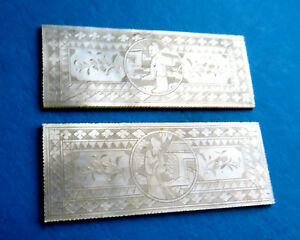 2 Large Antique Pearl Sewing Thread Winders Engraved Figure Scene