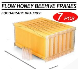 7pcs Automatic Flow Raw Frames Honey Beekeeping Beehive Harvesting