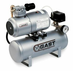 Gast 1 Phase Horizontal Tank Mounted 1 6hp Electric Air Compressor 2 Gal 50