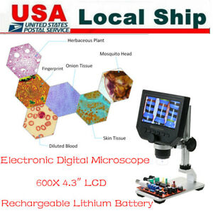 600x 4 3 Hd Lcd Display 3 6mp Digital Microscope Magnification W stand Kit Us