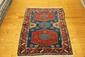 Antique Authentic Handmade 4x5 Shirvan Design 100 Wool Area Rug