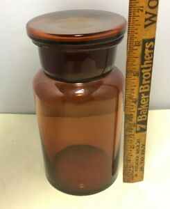 Antique Wide Mouth Brown Amber Apothecary Jar Bottle 500 Embossed On Bottom