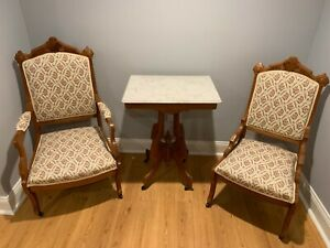 Eatlake Parlor Set Set Includes Settee 6 Chairs And Marble Topped Table