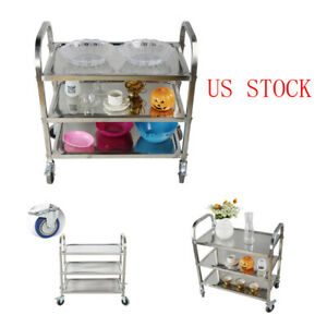 3 Shelf Commercial Bus Cart Kitchen Food Catering Rolling Dolly Stainless Steel
