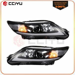 For 2010 2011 Toyota Camry Headlight Assembly Chrome Front Lights Drl Led Lamp