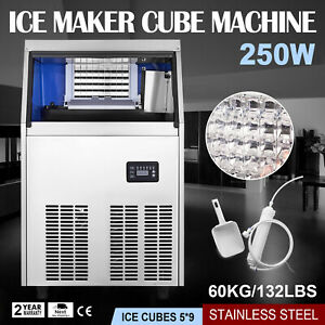 60kg 132lbs Commercial Ice Cube Maker Machine Ice Spoon Cafes Canteens 110v