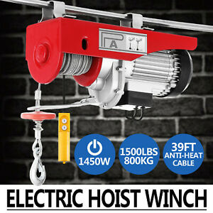 1500lbs Electric Hoist Winch Lifting Engine Crane Wire Motor Heavy Duty Pulley