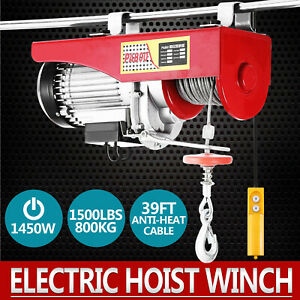 1500lbs Electric Hoist Winch Lifting Engine Crane Lift Hook Heavy Duty Pulley