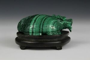 Chinese Dragon Turtle Longgui Carved In Malachite With Custom Wood Stand