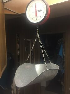 Red Hanging Scale Chatillon 20 Lb Glass Front Face Tin Tray New York