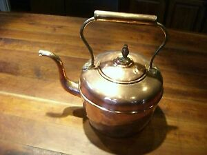 Antique Copper Tea Kettle Tea Pot With Brass Details Large