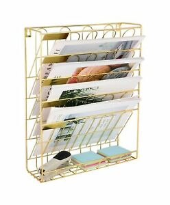 Superbpag Hanging Wall File Organizer 5 Slot Wire Metal Wall Mounted Documen