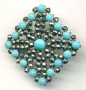 Antique Button Large Square Riveted Glass Cabochons Tons Of Sparkly Cut Steel