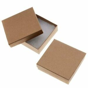 Kraft Square Cardboard Jewelry Boxes 3 5 X 3 5 X 1 Gift Box Brown 100 Pack New