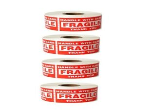 4 Roll 1 X 3 Fragile Handle With Care Stickers 1000 Per Roll 4000 Total