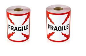 2 Rolls 4 X 4 Fragile Sticker Labels 500 Per Roll 1 Core 1000 Total