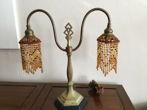 Vintage Art Deco Table Top Light Fixture Amber Beads Brass Base Works
