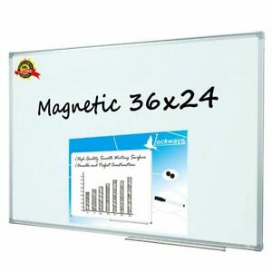 Lockways Magnetic Dry Erase Board Whiteboard white 36 X 24 Inch 3 X 2