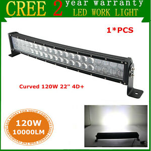 4d 22inch 120w Curved Led Light Bar Offroad Suv Boat Truck Ford Rzr Slim 23 24