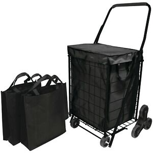 Helping Hand Sturdy 3 wheel Stair Climb Cart With Liner 2 Bags With Hooded Lid
