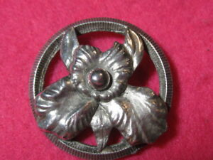 Vintage Button Pewter Orchid
