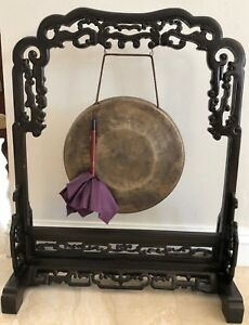 Antique Chinese Brass Gong And Hand Crafted Oriental Buddhism Monk Vintage 33x25