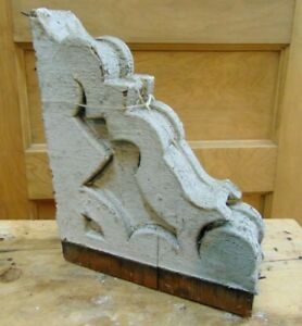 Antique Wooden Corbel Victorian White Distressed Paint 4