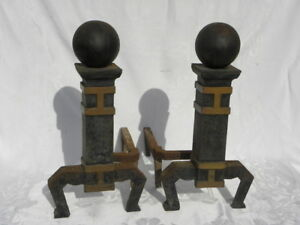 Pair Of Antique Vintage Cast Iron Arts And Crafts Andirons Or Fire Dogs