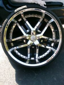 4 24 Inch Chrome And Black Rims And 3 New Tires